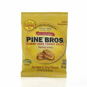 Pine Bros. Gummy Sore Throat Drops Natural Honey 30 Count, 2 Pack