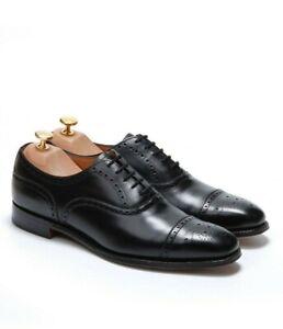 The Cobbler x Cheaney Men's Black Semi Brogue Shoes -`Islington` Size 8 F 42