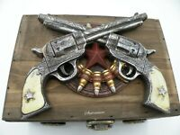 Western Pistols and Bullets Wooden Box Hand Painted New