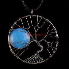 Opalite Opal Stone Copper Wire Wrap Tree Of Life Chakra Pendant Chain Necklace