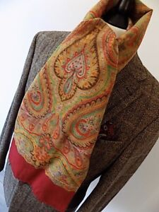 """VINTAGE MENS Beautiful man's red neck Soviet Floral Romanian scarf 10 x 43"""""""