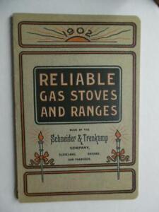 1902 Schneider & Trenkamp Reliable Gas Stove Range Catalog Antique Original BIG