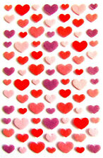 Small Red,Purple & Pink Felt Heart Decorative Stickers for Craft &Cards RCHM7018