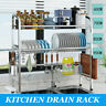 Over Sink Dish Drying Rack Stainless Steel Kitchen Cutlery Drainer Holder Shelf
