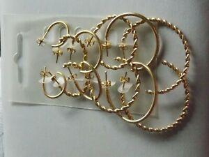 Great Practical set of Six Pairs of Gold Tone Hoop Earrings for Pierced Ears