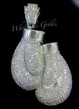$399 NEW 14K White Gold GP BOXING GLOVES Simulate Diamond RARE CUSTOM PENDANT!!