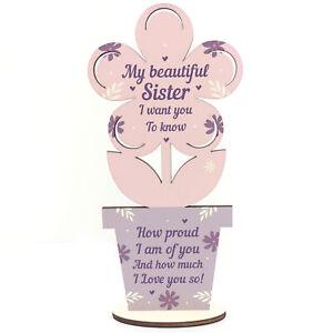 Sister Birthday Christmas Gifts Wooden Flower Best Friend Gift Friendship Plaque
