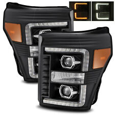 For 2011-2016 F250/F350/F450/F550 Super Duty LED Tube Black Projector Headlights