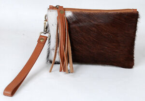 """Real Cowhide Leather Wristlet Clutch Wallet Double Side hairon 8""""x5.5"""" SA-6202"""