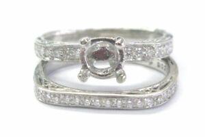 Simon G Platinum Diamond Wedding Semi Mount Set .43CT