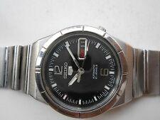 Vintage Rare See Through Super Seiko 5 Dark Black Dial Mens Automatic WristWatch