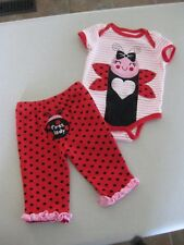 ADORABLE BABY GIRL 2 PIECE OUTFIT SET LADY BUG / BUTT DESIGN / 6-9mo / Worn 2x