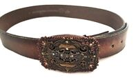 """Small (30""""-32"""") Brown Distressed Leather Women's Belt Maison Decorative Buckle"""