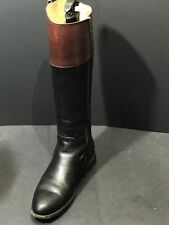 FRYE Womens Jayden Button Tall Black/Brown Leather Riding Boots Size US 7.5 B
