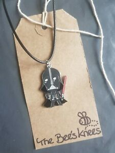 """Handmade Darth Vader Star Wars 17"""" Necklace Leather Cord Retro Silver Plated"""