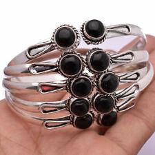 Women Black Onyx Gemstone 925 Sterling Silver Plated Adjustable Cuff Bangle Lot