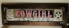 """24.5"""" X 8"""" RUSTIC WESTERN COWGIRL WOODEN MIRRORED STUDDED WALL SIGN PLAQUE"""