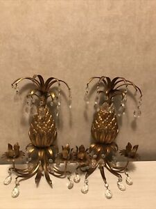 (2) Pair Made in Italy Pineapple With Draping Prisms Wall Sconce Candle Holders