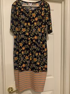 LuLaRoe Julia Dress Black Background Floral Print Striped Dipped Hem Size XL
