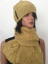 Hand Knits 2 Love Set Hat Shawl Scarf Beanie Slouch Cap Designer Fashion Winter