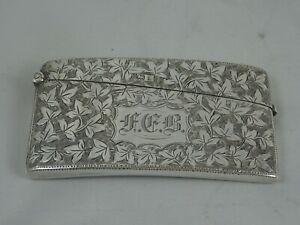 PRETTY EDWARDIAN silver CARD CASE, 1903, 43gm