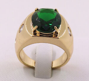 New Jewelry Natural  3.21ct Emerald 14k Solid Yellow Gold Ring Size 10.5#