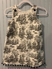 Froggy Oggy Boutique Childrens dress size 6~ Colonial Toile~ Black & White~lined