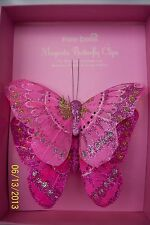 2 x Clip on Feather BUTTERFLIES Magenta Mix