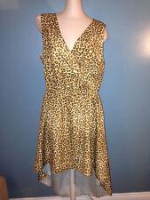 Kim Kourtney Kardashian Kollection Leopard Print High Low Wrap Dress L Large NEW