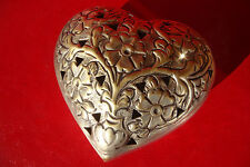 Old Antique Beautiful brass silvered heart Jewelry Trinket Box