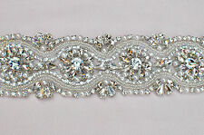 "Wedding Belt, Bridal Sash Belt - Crystal Pearl Sash Belt = 18"" long"