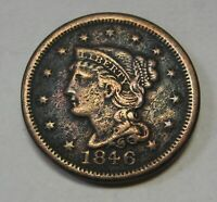1846 Small Date Braided Hair Large Cent Grading VF Details Dark and Porous   c84