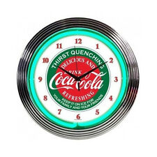 "Coca-Cola Wall Clock Neon Lighted 15"" Vintage Retro Coke Evergreen Logo Decor"