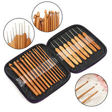20pcs Handle Wooden Crochet Hook Knitting Needles With Case for Weave Craft New