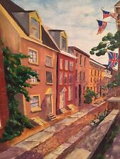 LeRoy Forney  Elfreth Alley On A Bright Day  Philadelphia     Oil Painting
