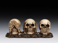 SEE HEAR SPEAK NO EVIL  SKELETON SKULL FIGURINE STATUE  HALLOWEEN
