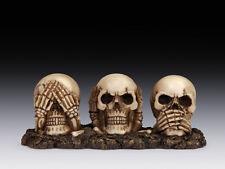 See Hear Speak no Evil Skulls Figurine Statue Skeleton Halloween