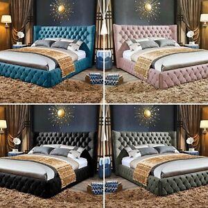 4ft 6 Double Upholstery Chesterfield Luxury Winged Bed Frame Velvet RRP £979