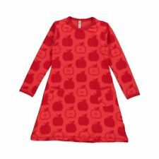 Maxomorra Organic Cotton Baby Girl Red Apple Long Sleeved Dress 6 9 12 18 24 12-18 Months