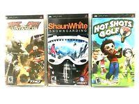 PSP Game Lot of 3 Complete Games Shaun White Hot Shots Golf MX vs ATV