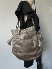 Women's Elliott Lucca extra large gold 100% Pig Leather hobo handbag purse tote