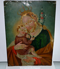 "Antique 19th C Italian Retablo Icon Saint & Child Painting on Metal 14"" x 10"""