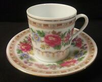 Made in China Marked Tea Cup & Saucer Pink Purple Blue Yellow Flowers Gold Trim