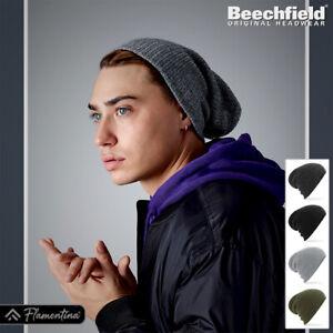 Beechfield Slouch Beanie Hat Heavy Gauge Headwear Ribbed Knit Urban Style Unisex