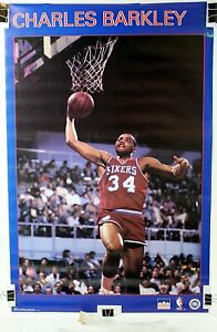 "Charles Barkley Philly 76ers Original NBA Starline Poster 1986 22 1/2""x34 1/2"""