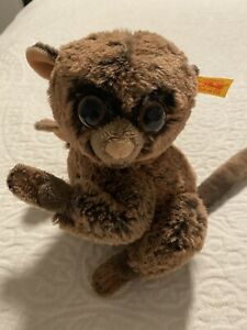 Steiff Koko Tarsier Monkey 067334 Soft Plush Great Condition, Steiff Tag On Ear