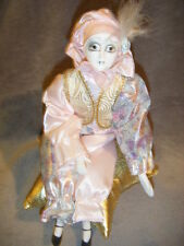 """Pink & Gold Metalic Jester Clown Music Box """"Send In The Clowns"""" musical"""