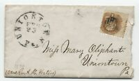 1870 Uniontown PA 1ct 1869 #112 drop rate cover with letter [y4203]