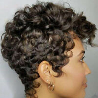 Short Afro Curls Wigs Synthetic Pixie Cut Curly Hair Full Wigs for Black Women