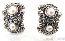 Silver Tone Beaded Faux Pearl Half Hoop Earrings